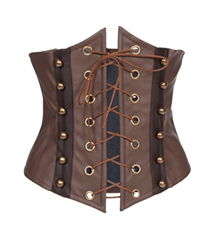 [Lotsyle Women's Faux Leather Corset Lace-up Front Bustier Underbust-2XL] (Brown Leather Corset)