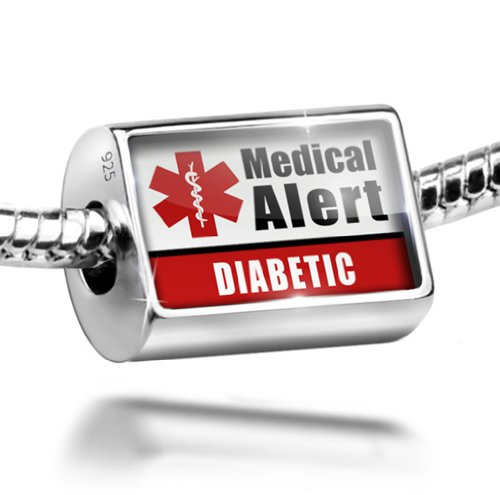 Sterling Silver Charm Medical Alert Red Diabetic - Bead Fit All European Bracel