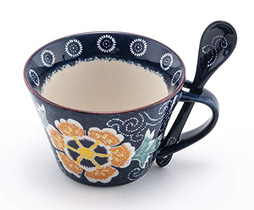 Mira Designs Attractive Ceramic Mug with Matching Spoon 12 fl oz Cup for Coffee Tea Latte Cafe Mocha Hot Cold Beverage (Blue Floral)