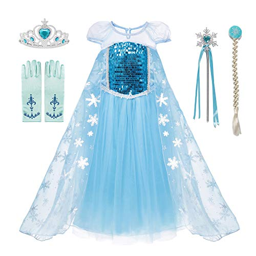aibeiboutique Snow Queen Princess Elsa Costume Toddler Girls Sequins Dress Up -