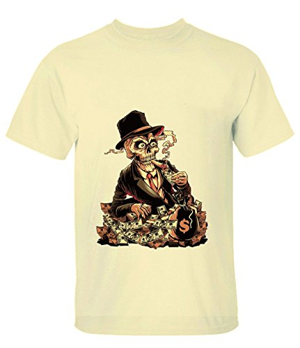 Yigenvren Men Gambling Dollar Bill Money Smoking Skull T-Shirt for Men L lightYellow