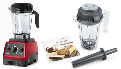 Vitamix 7500 Blender with Low Profile Jar, 2.2 HP Motor, AND 32-ounce Dry Grains Container (Red) (Vitamix Seal compare prices)