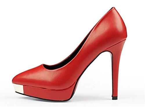 QIYUN.Z Ol Stadt Frauen Kontinentalen Ferse Stiletto Spitze Zehe Plattform Pumpe Schuhe Hoch Rot