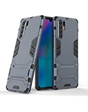 Miagon Kickstand Case for Huawei P30 Pro,Cool Dual Layer Hard PC Back Case with Stand Function Shockproof Full Body Cover,Dark Blue