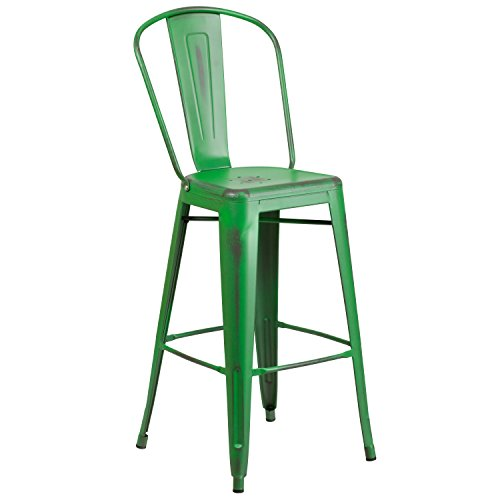 "Flash Furniture Distressed Green Metal Indoor Barstool, 30"""