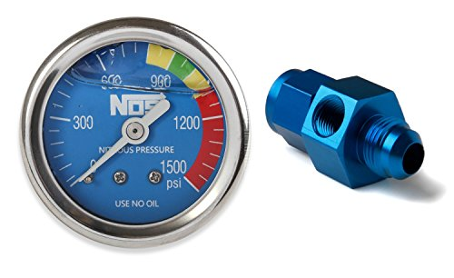 NOS/Nitrous Oxide System 15938NOS Nitrous Pressure Gauge 1.5 in. Dia. Royal Blue Dial Face w/White Needle 0-1500 psi Glycerin Filled w/-6AN Adapter Nitrous Pressure Gauge