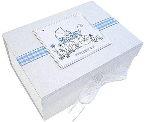 White Cotton Cards A5 Keepsake Box (Pram, Blue) (Blue Pram Box)