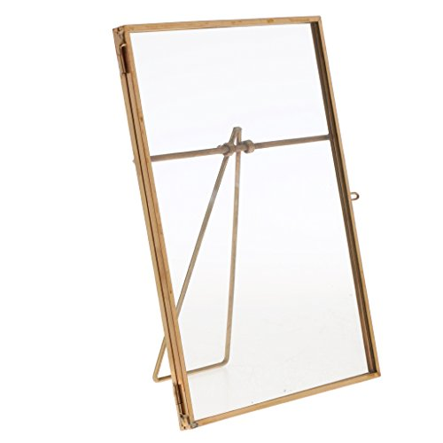 Jili Online Metal & Glass Freestanding Picture Photo Frame Tabletop Decor Gift Wedding Favor - Gold, 9 x 13 cm (Glass Table Tops Online)