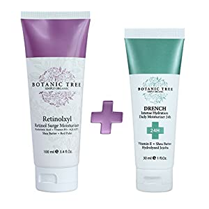 Retinol Cream for Face and Eyes 3.4Oz+Drench Intense Hydration 24Hrs (Pack of 2) - Anti Aging Cream For Wrinkles and Lines Reduction -100% Organic Extracts w/ Shea Butter And Hydrolyzed Jojoba