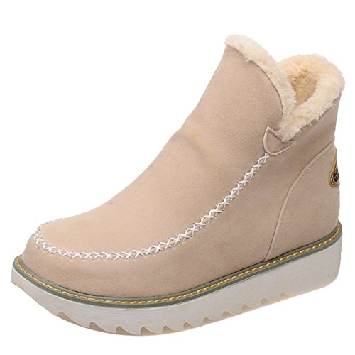 Casual High Snow Beige Women Ankle Lined COOLCEPT Warm Boots fpwzF