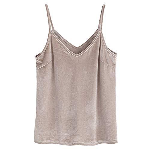 TIFENNY Women's Casual Vest Basic Strappy Soft Velvet V Neck Solid Color Cami Tank Tops Blouse Shirts -