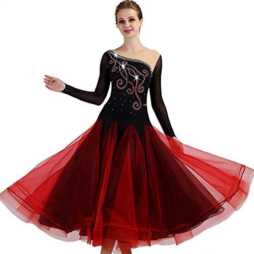 A Gamma Ballo Manicotto Alta Delle Sala Donne Da Danza Black Tango Di Costume Rete Dance Wqwlf M Prestazione Scena s Gonna Concorso Abiti Strass Modern 0q67x4w