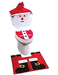 TraveT Santa Claus Toilet Tank Cover Set with Water Tank Cap + Towel Cover for Bathroom Christmas