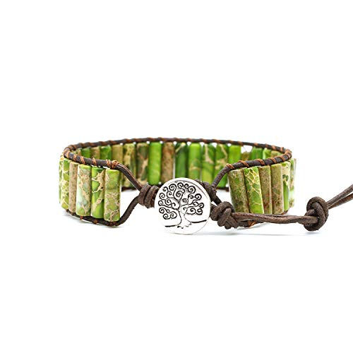 Bonnie Beaded Wrap Bracelet for Women Gemstone Beads Leather Bracelet Tree of Life Imperial Jasper Stone Beads Wrap Bracelet (Green)