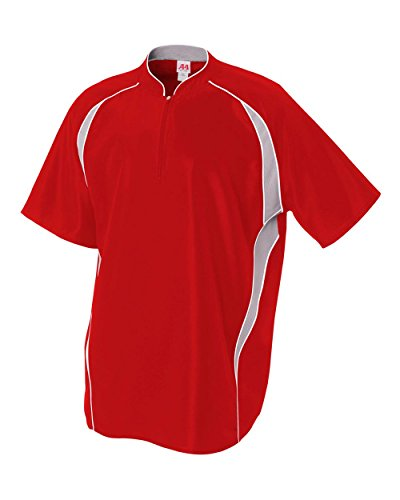 Adult 2XL Red/White 1/4 Zip Baseball/Softball Jacket