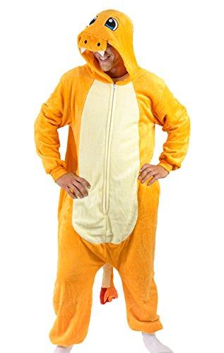 Charmander Costume Women (Adult Onesie Charmander Animal Pajamas Comfortable Costume with Zipper and Pockets)