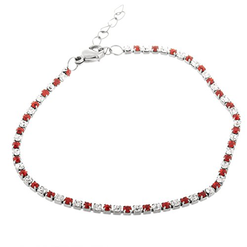 Stainless Steel Created Ruby and Clear Crystal Crystal 7
