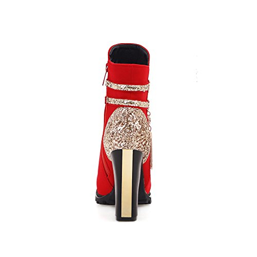 DecoStain Women's High Top Zipper Glitter Fringe Thick High Heel Booties Red 8BofD2GnFI