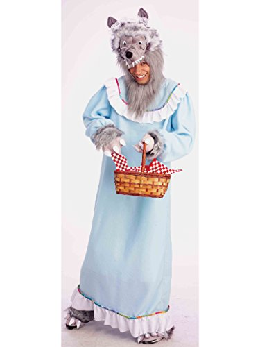 Forum Novelties Men's Adult Fairy Tales Granny Wolf Costume, Blue/Grey, Standard -
