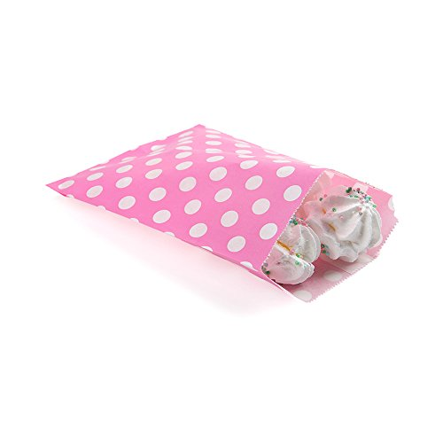 Disposable Paper Bags, Cookie Bags, Deli Bags, Bakery Bags - Pink with White Polka Dots - 7