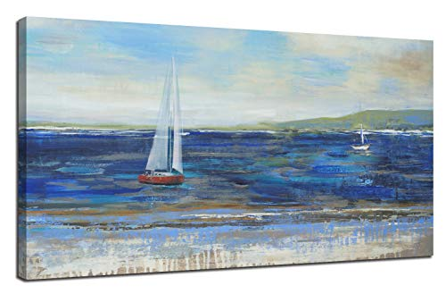 - Ardemy Canvas Wall Art Blue Abstract Seascape Painting Large Size One Panel Picture Prints, Modern Landscape Sail Boat in Ocean Artwork Framed for Living Room Bedroom Home Office Decor 48