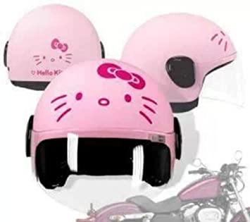 Casco de moto, diseño de Hello Kitty, color rosa