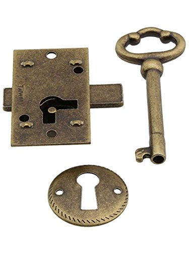 Antique Furniture Lock - Small Brass Plated Non-Mortise Cabinet Lock in Antique Brass