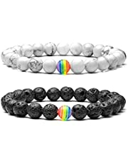 Jovivi 7 Chakra Healing Crystal Bracelet 8mm Yoga Mala Meditation Balancing Energy Beads Chakra Bracelets, Pack of 7