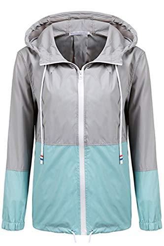 Women Azul Waterproof Block Cremallera Windbreaker Hoodie 's Jacket Color FAPF8qr6S
