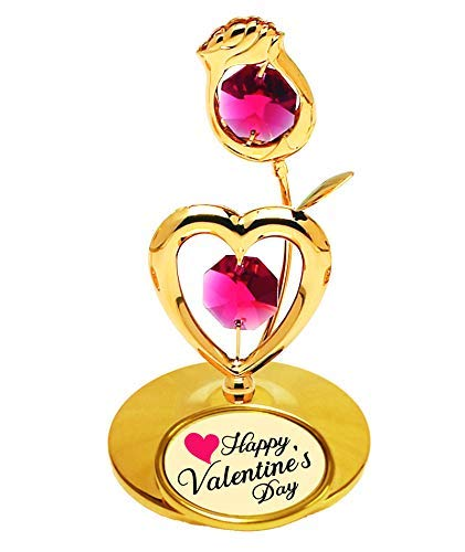 Best Gift for Valentine's Day, 24k Gold Plated Rose/Heart on Stand w Logo
