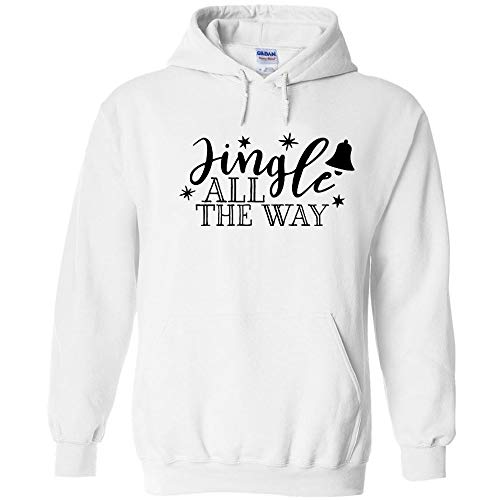 Clothes Christmas Jingle Bells Hooded - Jingle All The Way Bell and Stars Black Logo Hoodie Funny Christmas Holiday X-Mas Sarcastic Jumper Pullover Hooded Fleece Sweatshirt Adult Humor Joke Hood