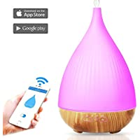 300ml Smart WI-FI Essential Oil Diffuser,Compatible with Amazon Alexa ,APP Control By IOS/Android Phone,Wooden Grain Ultrasonic Cool Mist Aroma Humidifier for Bedroom(White)