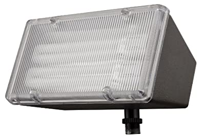 Lithonia Lighting OFL 213F 120 LP BZ M4 Mini-Flood Light with Two 13-Watt 2700K Compact Quad-Tube Fluorscent Lamps, Black Bronze
