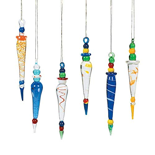 Oriental Trading Company Glass Icicle, Multi Color, 12 Count