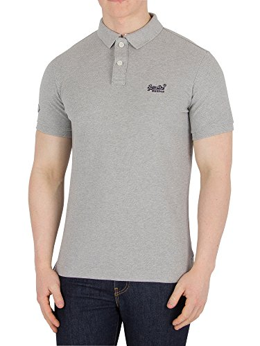 (Superdry Classic Pique SS Polo Shirt X Small Grey)
