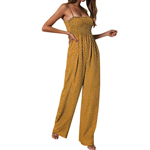 - AIEason Sexy Suspender Jumpsuits Women Dot Print Jumpsuit Ladies Sleeveless Club wear Wide Leg Pant Yellow