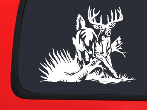 LVE Decals Deer Galloping over Branch White Hunting window decal sticker