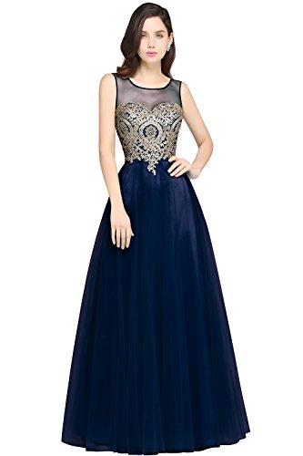 Babyonlinedress Women Long Evening Gown 2017 Lace Mesh Cocktail Dress,Navy Blue,Size 16