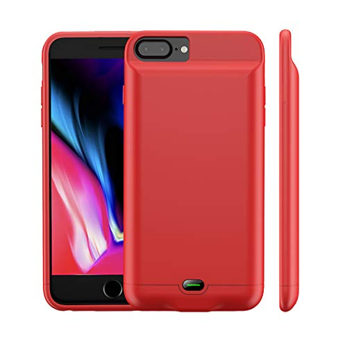 iPhone 8 Plus/7 Plus Battery Case, MAXBEAR 5000mAh Ultra Slim Rechargeable Extended Battery Pack for Apple iPhone 6 Plus/6S Plus Charging Case for iPhone 7 Plus,8 Plus Portable Power Bank-Red