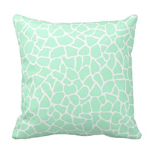 Jbralid Pastel Mint Green Giraffe Animal Print Pattern Pillow Cover Cotton Linen Indoor Decor Throw Pillow Case 22x22 in