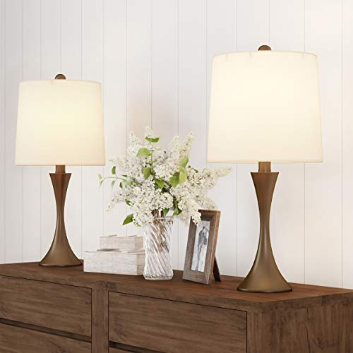 Lavish Home Table Lamps - Set of 2 Mid-Century Modern Metal Flared Trumpet Base with Energy Efficient LED Light Bulbs Included (Bronze)