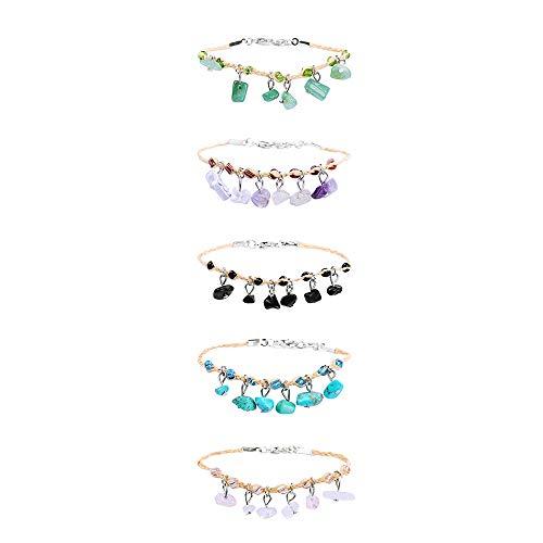 LEMONTree Gemstone Friendship Bracelets/Anklets Set for Women Girls- String Handmade Bracelets Braided Woven Adjustable Boho Bracelets for Many Occasions Jewelry Birthday Gift 5Pcs