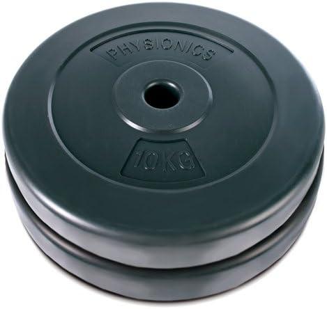2 x 10 kg Physionics Lot de 2 Poids Disques pour Halt/ères