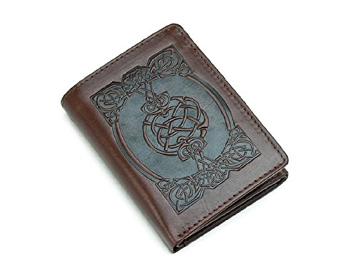 Real Irish Leather - Biddy Murphy Irish Leather Wallet Brown Celtic Design Tri-Fold Made in Ireland