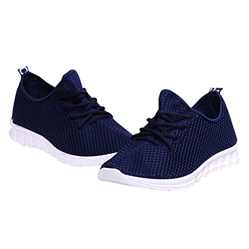 Fereshte Par Unisex Para Mujer Para Hombre Zapatillas De Moda Casual De Malla Transpirable Deportes Atléticos Zapatos Azul Oscuro
