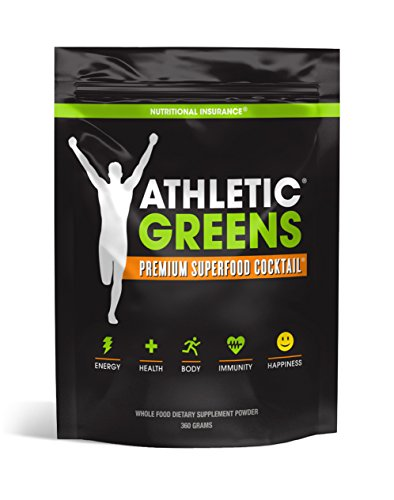 Athletic Greens Premium Green Superfood Cocktail - Complete Greens Powder Greens Supplement herbal extracts Alfalfa chlorella spinach grape seed extract for superior health - 30 Serving Pouch (360g)