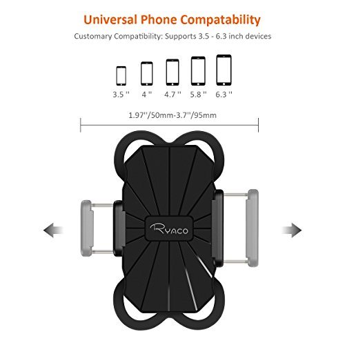 [해외]Ryaco Bike Phone Mount 자전거 홀더, 360도 회전 범용 크래들 클램프 3.5 ~ 6.3 인치 스크린 용 iPhone iPhone Android 스마트 폰, Boati/Ryaco Bike Phone Mount Bicycle Holder, Universal Cradle Clamp with 360 Degrees Rotatable for 3.5 to 6...