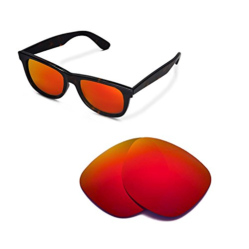 Walleva Replacement Lenses for Ray-Ban Wayfarer RB2140 54mm Sunglasses - Multiple Options Available (Fire Red - - Rb2140 Lenses Replacement Wayfarer