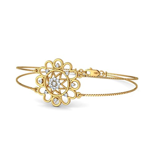 Or jaune 18K, 0.272CT TW Round-cut-diamond (Ij| SI) Identification-bracelets
