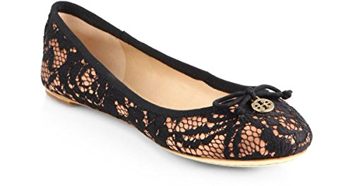 Tory - Burch Chelsea Lace Covered Silk Ballet Logo Flats Black/Nude - Flat Nude Tory Burch